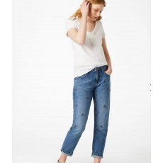 White Stuff Fiesta Leaf Emb Boyfriend Jean Denim