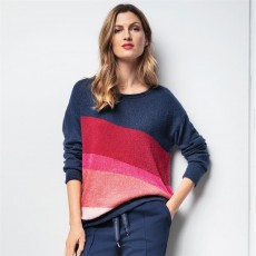 Olsen Long Sleeve Navy Blue Pullover