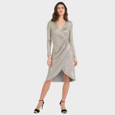 Joseph Ribkoff Grey/Gold Dress