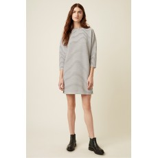 Great Plains Orla Ottoman Long Sleeve Black/Grey/Milk Round Neck Dress