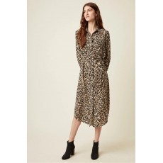 Great Plains Cara Leopard Print Long Sleeve Shirt Dress