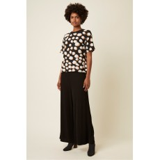 Great Plains Margot  Spot Short Sleeve Black/Amaretto Top