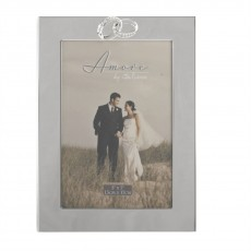 "Amore Silverplated Frame With Crystal Rings/Plain 5"" x 7"""