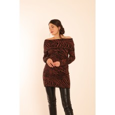 Latte Wave Print 2 Tone Long Knit With Shawl Collar