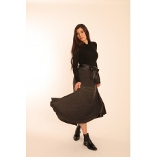 Latte Long Concertina Pleat Skirt With Vegan Leather Belt