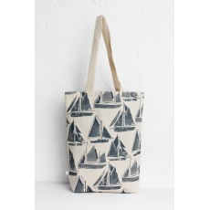 SeaSalt Canvas Shopper Textured Boats Shadow