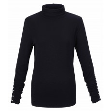 Marble Turtle Neck Top Black