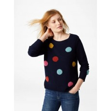 White Stuff Boucle Spot Jumper Navy Mix