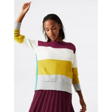 White Stuff Orchard Colourblock Jumper Purple Stripe