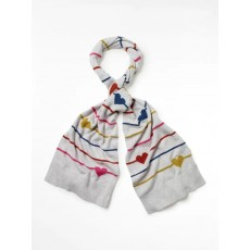 White Stuff Heart & Stripe Scarf Silver Gre