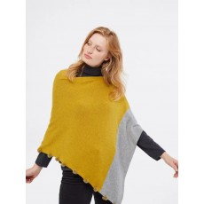White Stuff Penelope Colour Block Poncho Chartreuse