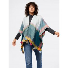 White Stuff Siobhan Check Cape Soft Blue