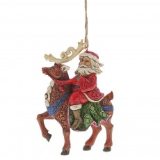 Jim Shore Santa Riding Reindeer Ornament