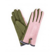 Amanda Faux Suede Gloves-Pink/Moss