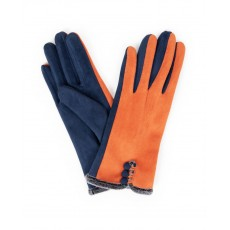 Amanda Faux Suede Gloves-Tang/Navy
