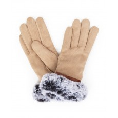 Penelope Faux Suede Gloves-Stone