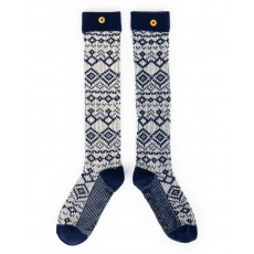 Ladies Boot Socks-Fair Isle-Navy
