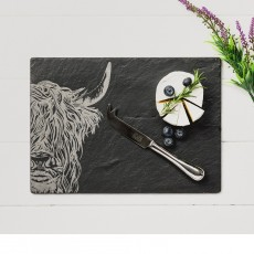 Just Slate Highland Cow Cheese Board & Knife Gift Set