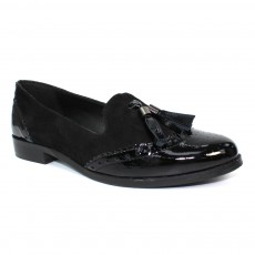 Lunar Cortona Black Leather Tassel Loafer