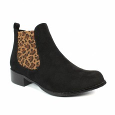 Lunar Fabia Black Micro Boot with Animal Print