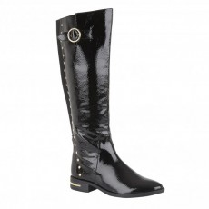 Lotus Estelle Black Crinkle Patent Knee High Boot