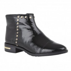 Lotus Abrielle Black Crinkle Patent Boot