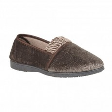 Lotus Georgette Taupe Slippers