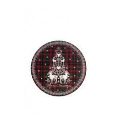 Denby Merry Christmas Tartan Round Coasters Set 6