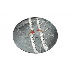 Winter Robin Glass Large Circular Dish