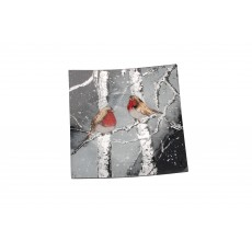 Winter Robin Glass Small Square Plate