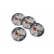Winter Robin Set Of 4 Glass Coasters