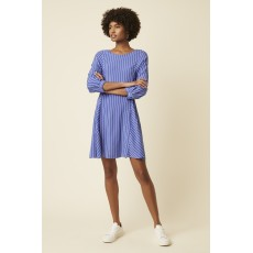 Great Plains Salerno Stripe Ls Wide Neck Dress Cornflower Blue/Milk