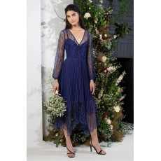 French Connection Bikita Lace Mix Handkerchief Hem Dress Clement Blue