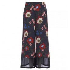 French Connection Eloise Drape 2 Printed Culottes Utility Blue Multi