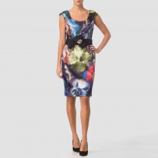 Joseph Ribkoff Satin Floral Print Dress
