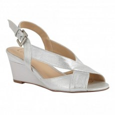 Lotus Dominica Wedge Sandal Silver