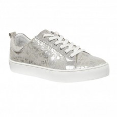 Lotus Garda Trainers Silver Floral Leather