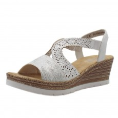 Rieker Wedge Sandal White/Silver