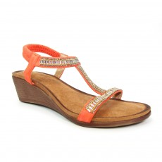 Lunar Tabitha Orange Glitzy Wedge