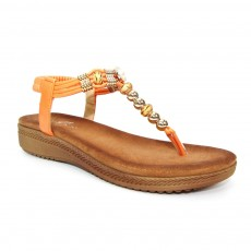 Lunar Acorn Orange Beaded Toe Post