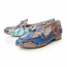 Moda in Pelle Ferna Trim Almond Toe Flat Shoe Blue Snake