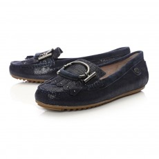Moda in Pelle Ettie Oval And Fringed Trim Shoe Navy