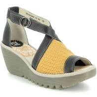 Fly London Yace Yellow/Black/Concrete Wedge