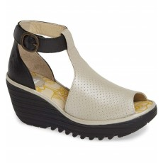 Fly London Yall Silver/Black Wedge