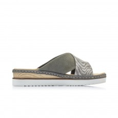 Rieker Cross over Sandal Black/Grey Animal Print