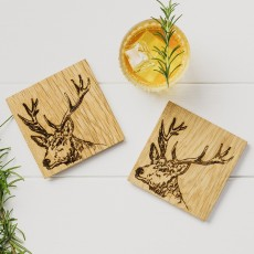 Scottish Made Stag Oak Coaster Set 2