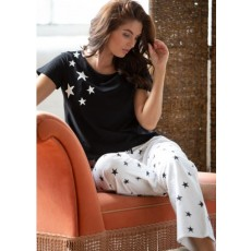 Pour Moi Jersey Star Short Sleeve Black and White PJ Set