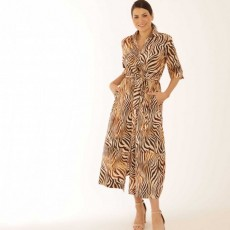 Latte Long animal print shirt dress