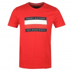 Tommy Hilfiger Corp Stripe Box Tee Primary Red
