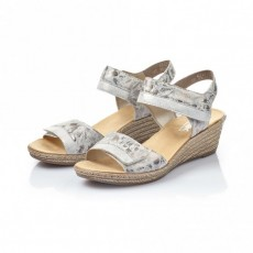 Rieker Wedge Sandal Grey Metallic